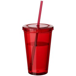 Cyclone 450 ml insulated tumbler with straw, BPA free acrylic, Red and clear