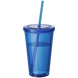 Cyclone 450 ml insulated tumbler with straw, BPA free acrylic, Transparent blue