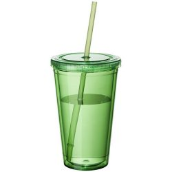 Cyclone 450 ml insulated tumbler with straw, BPA free acrylic, Transparent green