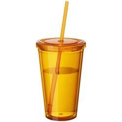 Cyclone 450 ml insulated tumbler with straw, BPA free acrylic, Transparent orange