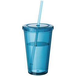 Cyclone 450 ml insulated tumbler with straw, BPA free acrylic, aqua blue