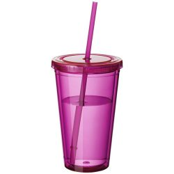 Cyclone 450 ml insulated tumbler with straw, BPA free acrylic, transparent pink