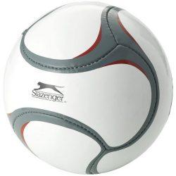 Minge de fotbal, marime 5, 3 layere, Slazenger by AleXer, LS01, latex, pvc, alb, gri, breloc inclus din piele ecologica si metal