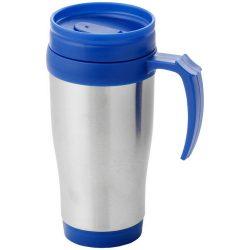 Sanibel 400 ml insulated mug, Stainless steel exterior, plastic interior BPA free, Silver, Blue