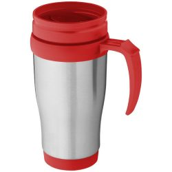 Sanibel 400 ml insulated mug, Stainless steel exterior, plastic interior BPA free, Silver, Red