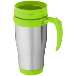 Sanibel 400 ml insulated mug, Stainless steel exterior, plastic interior BPA free, Silver,Lime green