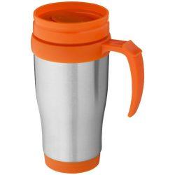 Sanibel 400 ml insulated mug, Stainless steel exterior, plastic interior BPA free, Silver,Orange