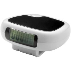 Track-fast pedometer step counter with LCD display, Plastic, White, solid black