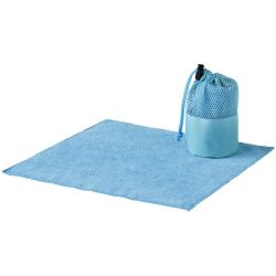 Diamond car cleaning towel and pouch, 320 gsm² polyester towel and 600D polyester pouch, Blue