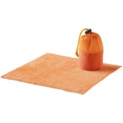 Diamond car cleaning towel and pouch, 320 gsm² polyester towel and 600D polyester pouch, Orange