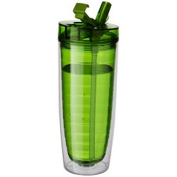 Sipper Insulated Tumbler, BPA free AS plastic, Transparent green