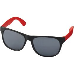 Old-school retro-looking sunglasses, PP plastic, Red, solid black