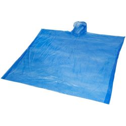 Ziva disposable rain poncho with pouch, PE plastic, Royal blue
