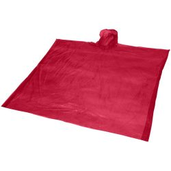 Ziva disposable rain poncho with pouch, PE plastic, Red