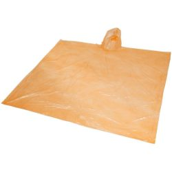 Ziva disposable rain poncho with pouch, PE plastic, Orange