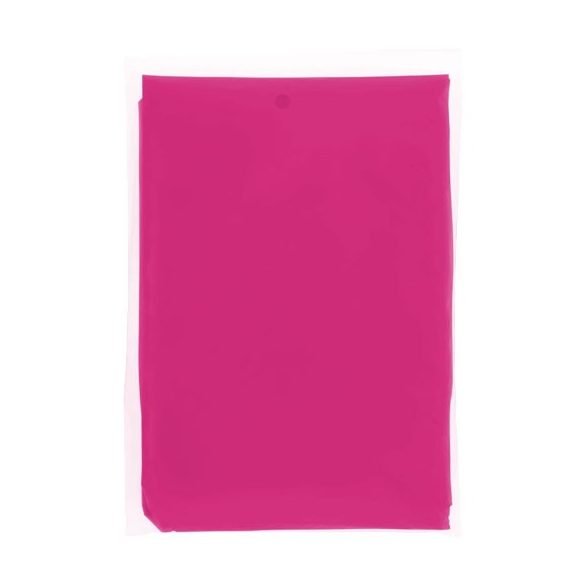 Ziva disposable rain poncho with pouch, PE plastic, Pink