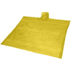 Ziva disposable rain poncho with pouch, PE plastic, Yellow