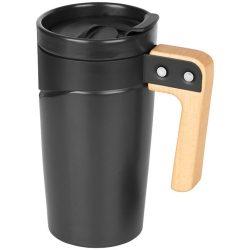 Cana de calatorie 475 ml din ceramica, cu maner din lemn, Everestus, GO, negru