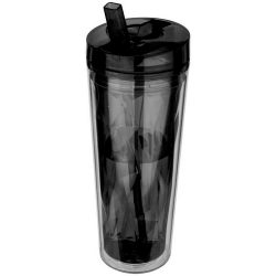 Flip n Sip 535 ml geometric insulated tumbler, Acrylic, solid black