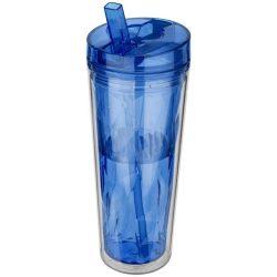 Cana de calatorie 535 ml, forma geometrica, perete dublu, Everestus, FP, acril, albastru