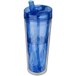 Cana de calatorie 535 ml, forma geometrica, perete dublu, Everestus, FP, acril, albastru, saculet de calatorie inclus