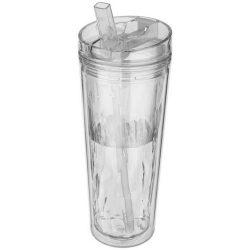 Flip n Sip 535 ml geometric insulated tumbler, Acrylic, transparent clear
