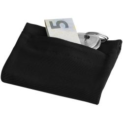 Squat wristband with zippered pocket, 70% Polyester and 30% Spantex, solid black