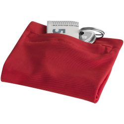 Squat wristband with zippered pocket, 70% Polyester and 30% Spantex, Red
