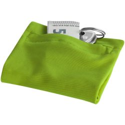 Squat wristband with zippered pocket, 70% Polyester and 30% Spantex, Lime