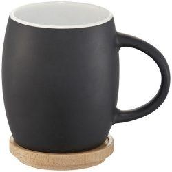 Hearth 400 ml ceramic mug with wooden lid/coaster, Ceramic, solid black,White