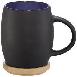 Cana 400 ml cu suport din lemn, Everestus, HH, ceramica, negru, albastru, saculet de calatorie inclus