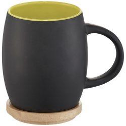 Hearth 400 ml ceramic mug with wooden lid/coaster, Ceramic, solid black,Lime