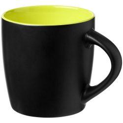 Cana ceramica 340 ml cu interior colorat, Everestus, 20IAN1164, Negru, Verde Lime