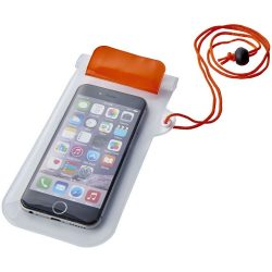 Mambo waterproof smartphone storage pouch, PVC, Orange,Transparent