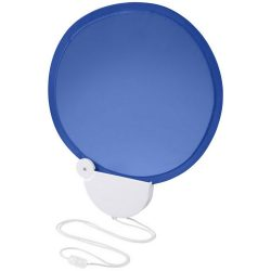 Breeze foldable hand fan with cord, ABS plastic, Royal blue,White
