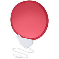 Breeze foldable hand fan with cord, ABS plastic, Red,White