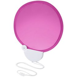 Breeze foldable hand fan with cord, ABS plastic, Magenta,White