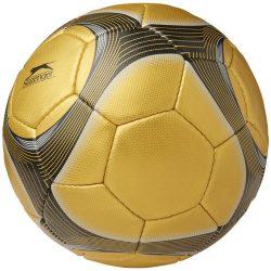 Minge de fotbal, marime 5, 32 paneluri, Slazenger by AleXer, BO01, poliuretan, auriu, breloc inclus din piele ecologica si metal
