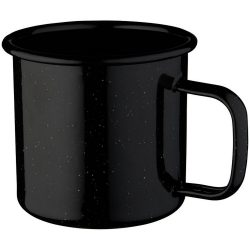 Campfire mug, Enamel, solid black,White