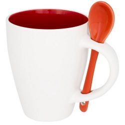 Nadu mug with spoon, Ceramic, Red
