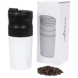 Brew all-in-one portable electric coffee maker, Stainless steel, White