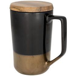 Tahoe tea and coffee ceramic mug with wood lid, Ceramic and wood, solid black