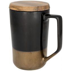 Cana de cafea/ceai, 470 ml, cu capac din lemn, Everestus, TE, ceramica si lemn, negru, saculet de calatorie inclus