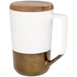 Cana de cafea/ceai, 470 ml, cu capac din lemn, Everestus, TE, ceramica si lemn, alb