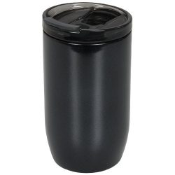 Cana termoizolanta, perete dublu, 380 ml, pentru voiaj, Everestus, LM, otel inoxidabil, negru, saculet de calatorie inclus