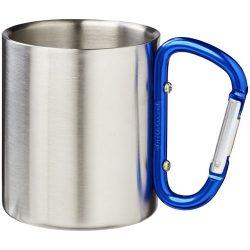 Cana camping 200 ml, maner cu carabina, Everestus, AS02, otel inoxidabil, albastru