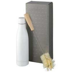 Vasa copper vacuum insulated bottle with brush set, Stainless steel, Wood, White