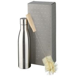 Vasa copper vacuum insulated bottle with brush set, Stainless steel, Wood, Silver