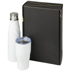 Hugo copper vacuum insulated gift set, Stainless steel, White