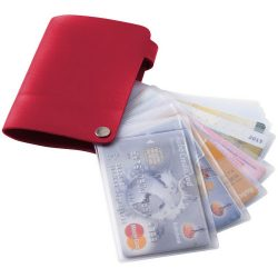 Valencia card holder with 10 slots, PVC, Red